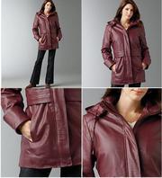 Новая женская кожаная куртка-парка 56р